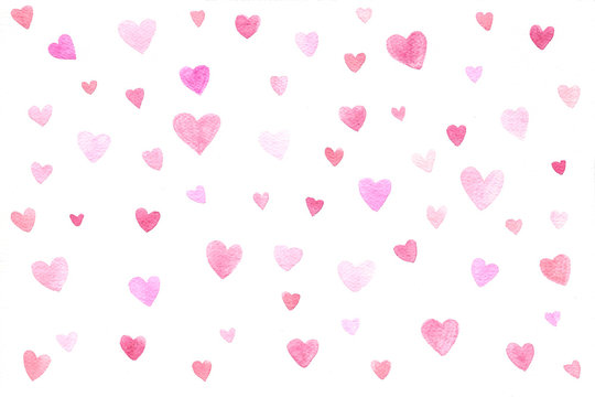 Seamless pattern with watercolor pink  hearts on a white background.