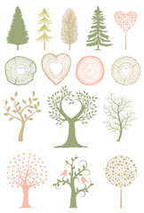 A Collection of Trees and Wood Rings in Vector