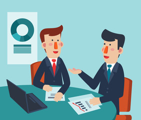 Two young and smiling businessmen talking and discussing in office. Teamwork process vector concept