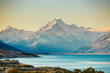 Road to Mt Cook, the highest mountain in New Zealand. Wall mural