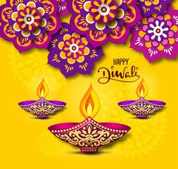 happy diwali vector illustration with rangoli flowral design with diya and happy diwali calligraphy on Yellow background.