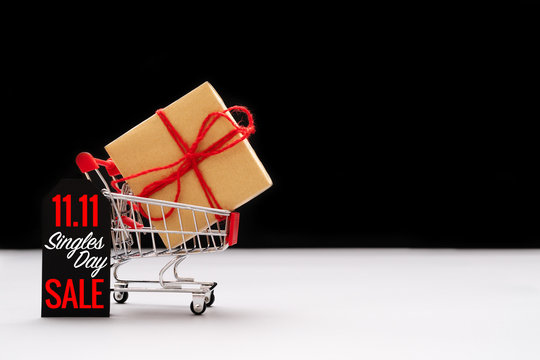 shopping cart and shopping bags with gift box ,China 11.11 single day sale concept