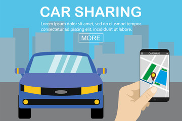 car sharing concept,blue car and hand holding smartphone with carsharing app