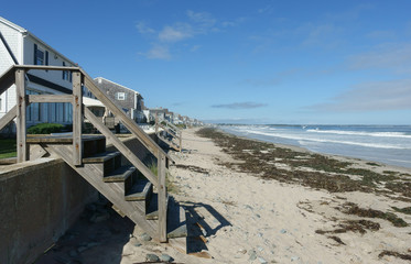 Wooden stairs to a New England beach, covered with seaweed