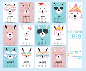 Doodle calendar set 2019 with llama,christmas,glasses,heart,star for children.Can be used for printable graphic