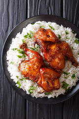 Indonesian main course baked chicken in garlic, soy, ginger and honey sauce served with rice on a plate close-up. Vertical top view
