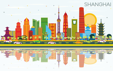 Shanghai China City Skyline with Color Buildings, Blue Sky and Reflections.