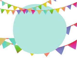水彩風のガーランドで飾ったラフな円