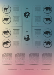 Poster infographics wild animals on a blurry background in an abstract style