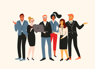 Vectior illustration of office people. Office workers, businessmen, managers.