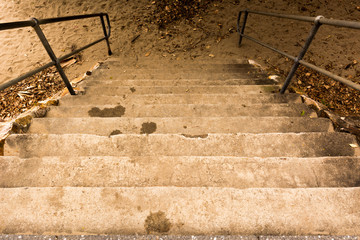 Concrete steps leading down to the beach
