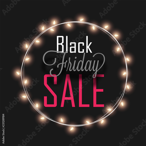 6b7090a419 Black Friday Sale text in circular lighting frame on black background