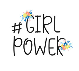 Girl Power Feminism quote hashtag, vector lettering