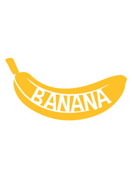 gelb text banana logo obst banane lecker gesund essen bananenschale krumm clipart cartoon comic design