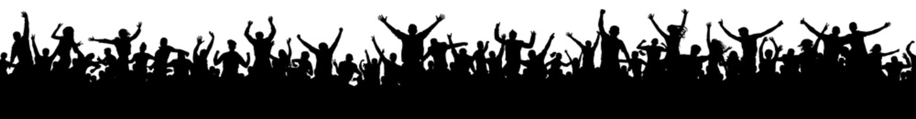 Seamless crowd of fun people on party, holiday. Cheerful people having fun celebrating. Sporting event. Applause people hands up. Silhouette Vector Illustration