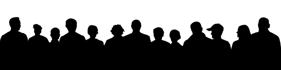 Crowd of people silhouette. Large audience anonymous faces. Meeting demonstrators. Human heads, vector illustration