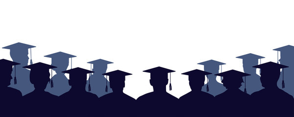 Group of university graduates. Crowd of people of students, in mantles and square academic caps. High school graduation. Audience silhouette vector