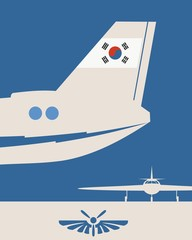 Vertical banner with the image of an airplane tail. Air company emblem. South Korea flag