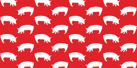 vector pig on red background