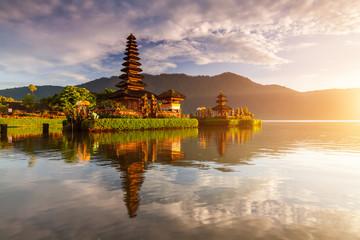 Pura Ulun Danu temple panorama at sunrise on a lake Bratan, Bali, Indonesia.
