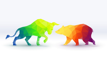 Colorful of low poly Bullish versus Bearish, stock market concept