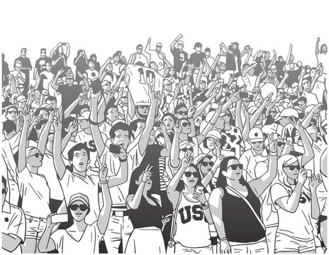 Stylized drawing of sports enthusiasts supporting their favorite team