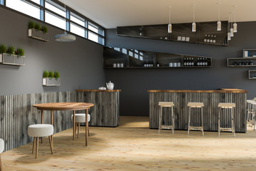 Gray cafe interior, round tables and bar