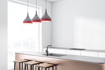 White loft kitchen with bar