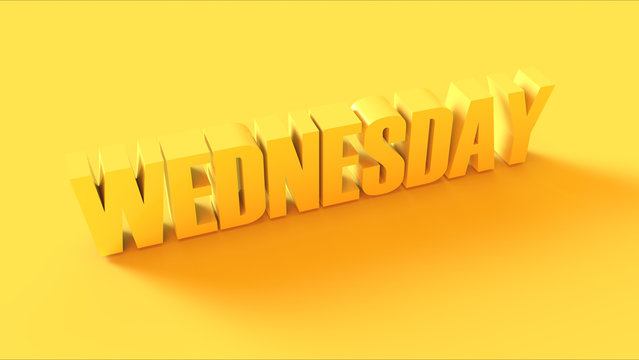 Bright Yellow Wednesday Sign 3d illustration 3d render