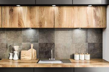 Wooden kitchen countertop