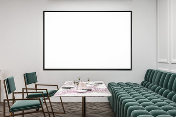White restaurant with green sofa and chairs poster