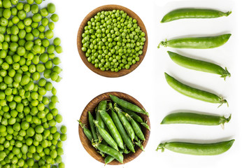 Set of green peas. Green peas isolated on a white background. Vegetables with copy space for text. Studio photo. Isolated macro food photo close up from above on white background.