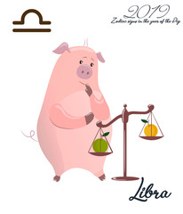 Zodiac sign Libra. 2019 year of the pig. Piglet on the scales. Funny horoscope. Cute animal. Vector illustration in cartoon style. Lettering jelly Libra. Isolated object on white background.