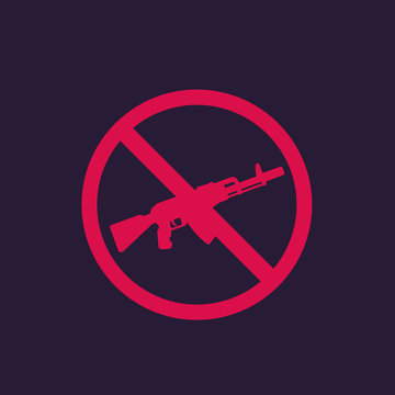 no guns sign with automatic rifle, vector for print and web