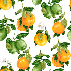 Seamless pattern with citrus fruits and flowers in vector
