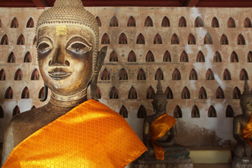 Head of statue of buddha in asian temple