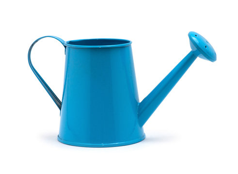 Blue watering can isolated on a white background.