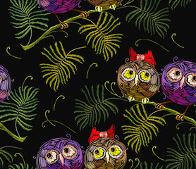 Embroidery two funny owls on branch seamless pattern. Template for clothes, textiles, t-shirt design
