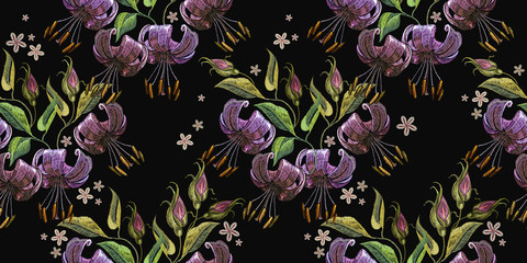 Embroidery tiger lillies on black background seamless pattern. Template for clothes, textiles, t-shirt design
