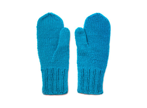 Blue mittens isolated on white background