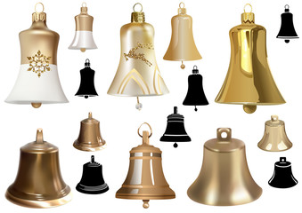 Set of Bells as Elements of Christmas Design for Your Illustrations - Photorealistic Vector and Colored Vector Illustration and Black Vector Illustration