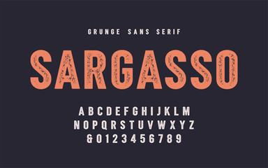 Sargasso grunge san serif vector font, alphabet, typeface