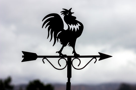 Rooster weather vane in a cloudy day