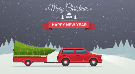 Merry Christmas and Happy New Year. Holiday winter snowy night background with red car and christmas tree in trailer.