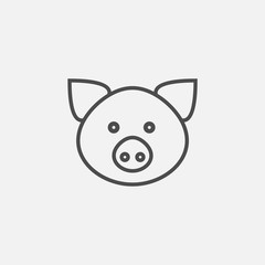 Pig face icon isolated on white background. Vector illustration.