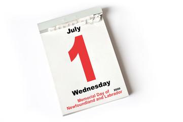 1. July 2020 Memorial Day of Newfoundland and Labrador
