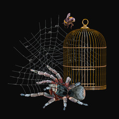 Embroidery spider, gold cage and bumblebee. Classical gothic art. Medieval halloween background. Horror art clothes template and t-shirt design