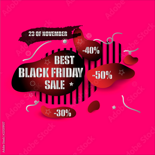 425dc322d5 Black friday sale abstract modern shape banner design. Price tag with  discount. Red and black colors sticker design. High quality style vector  illustration.