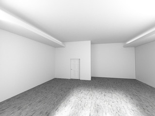 Empty room with window shadow, 3D rendering