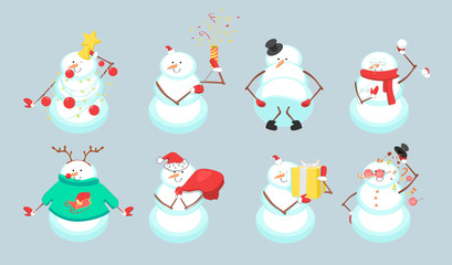 Set of cute Christmas snowmans isolated on blue background. Vector illustration